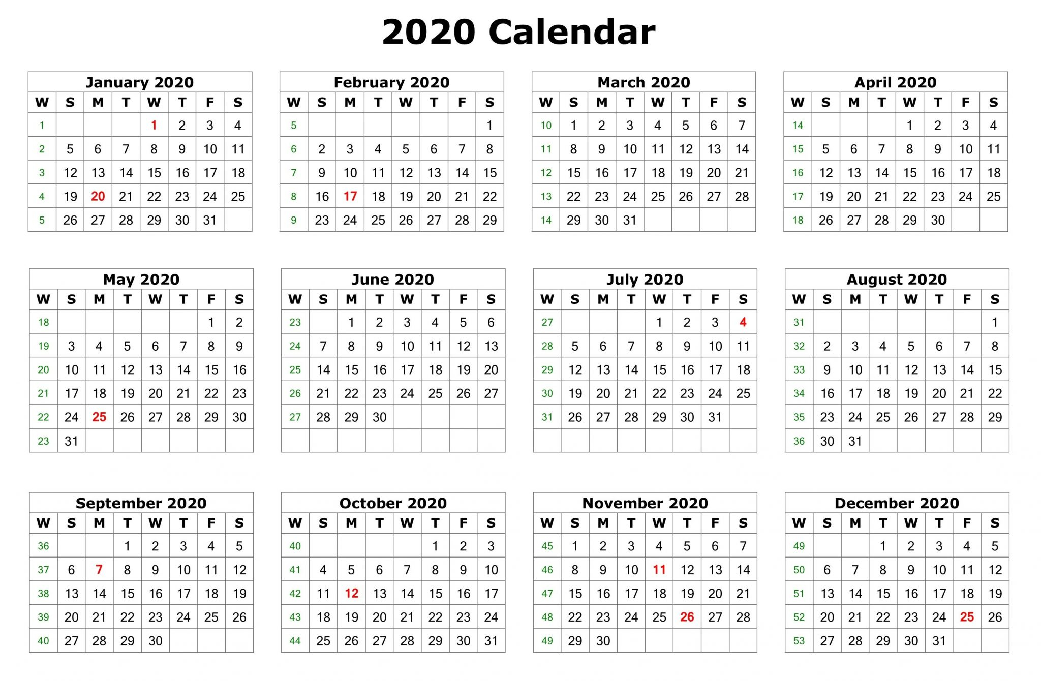 12 Months 2020 Printable Calendar Template - Free Printable intended for Pay Calendar 2020 Psac