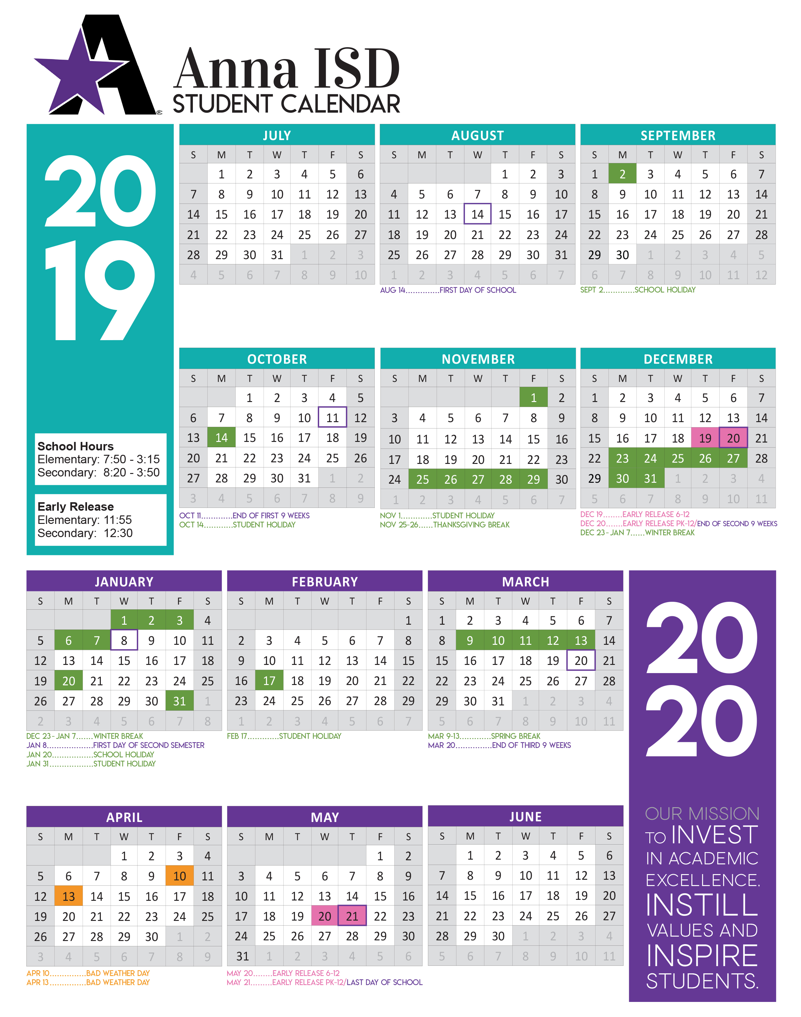 2019-2020 Academic Calendar Approved - Anna Independent Schools pertaining to Payroll Calendar 2020 Ahs