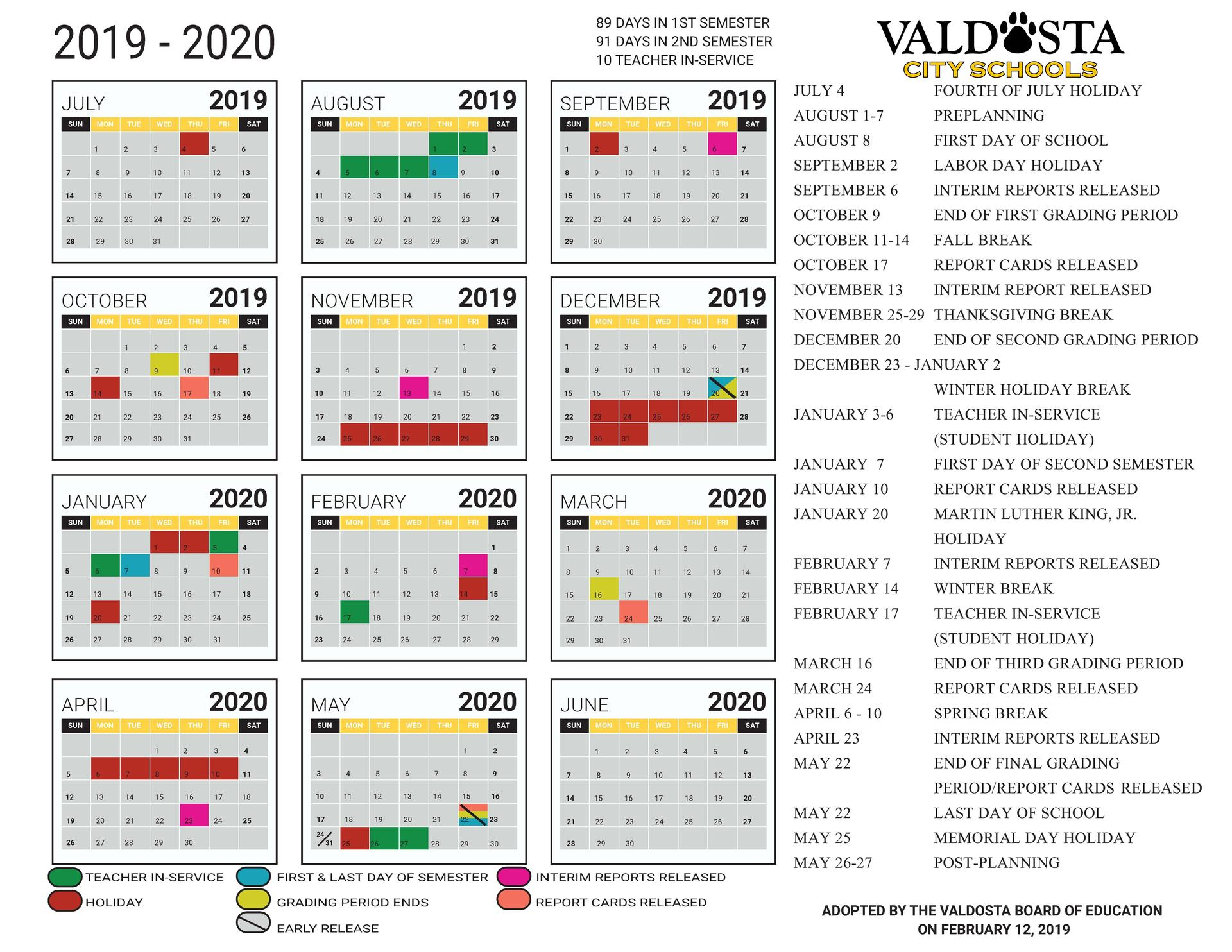 2019 - 2020 Academic Calendar – Student Support Services within City Payroll Calendar 2020