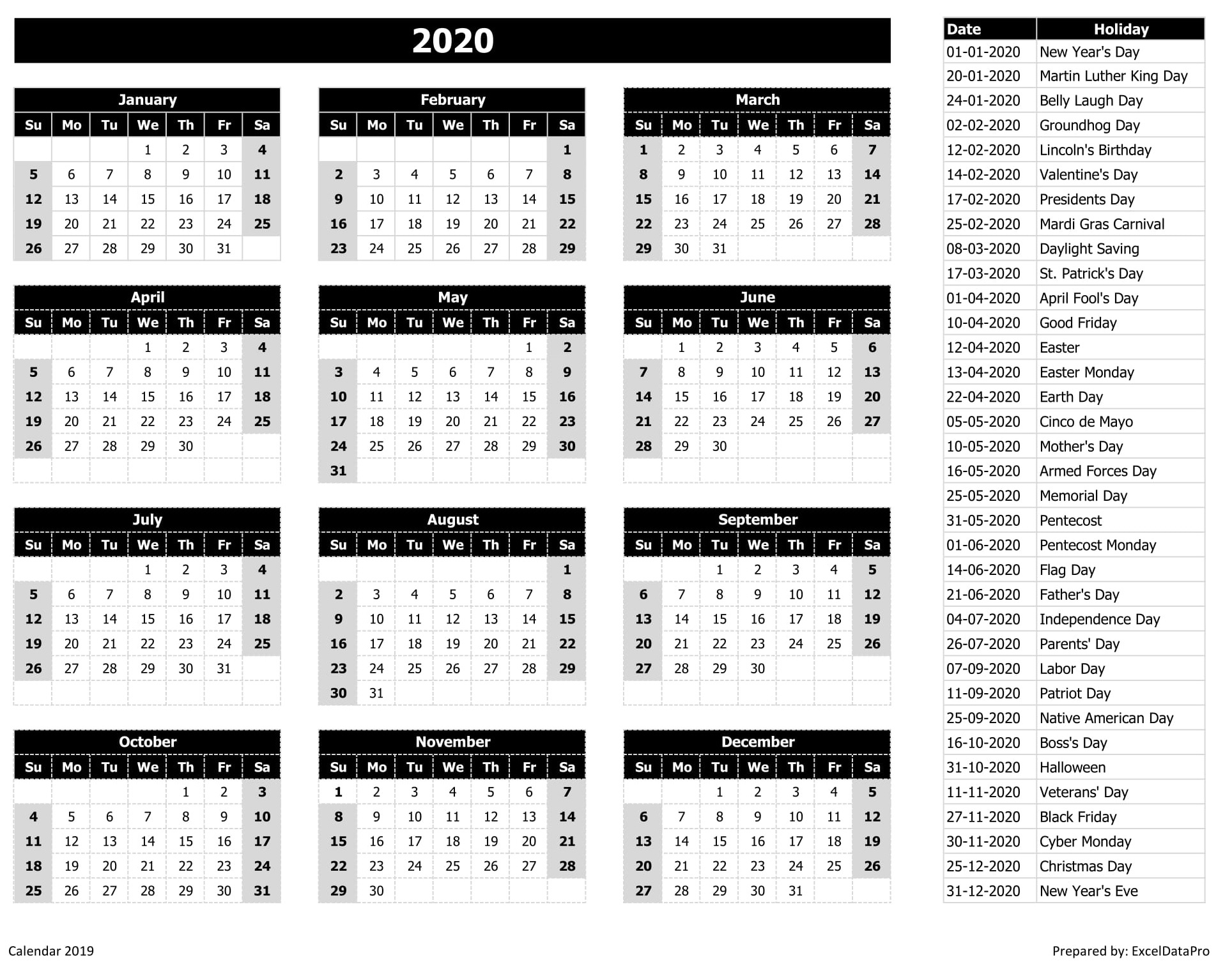 2020 Calendar Excel Templates, Printable Pdfs & Images in La Fitness Payroll Calendar 2020