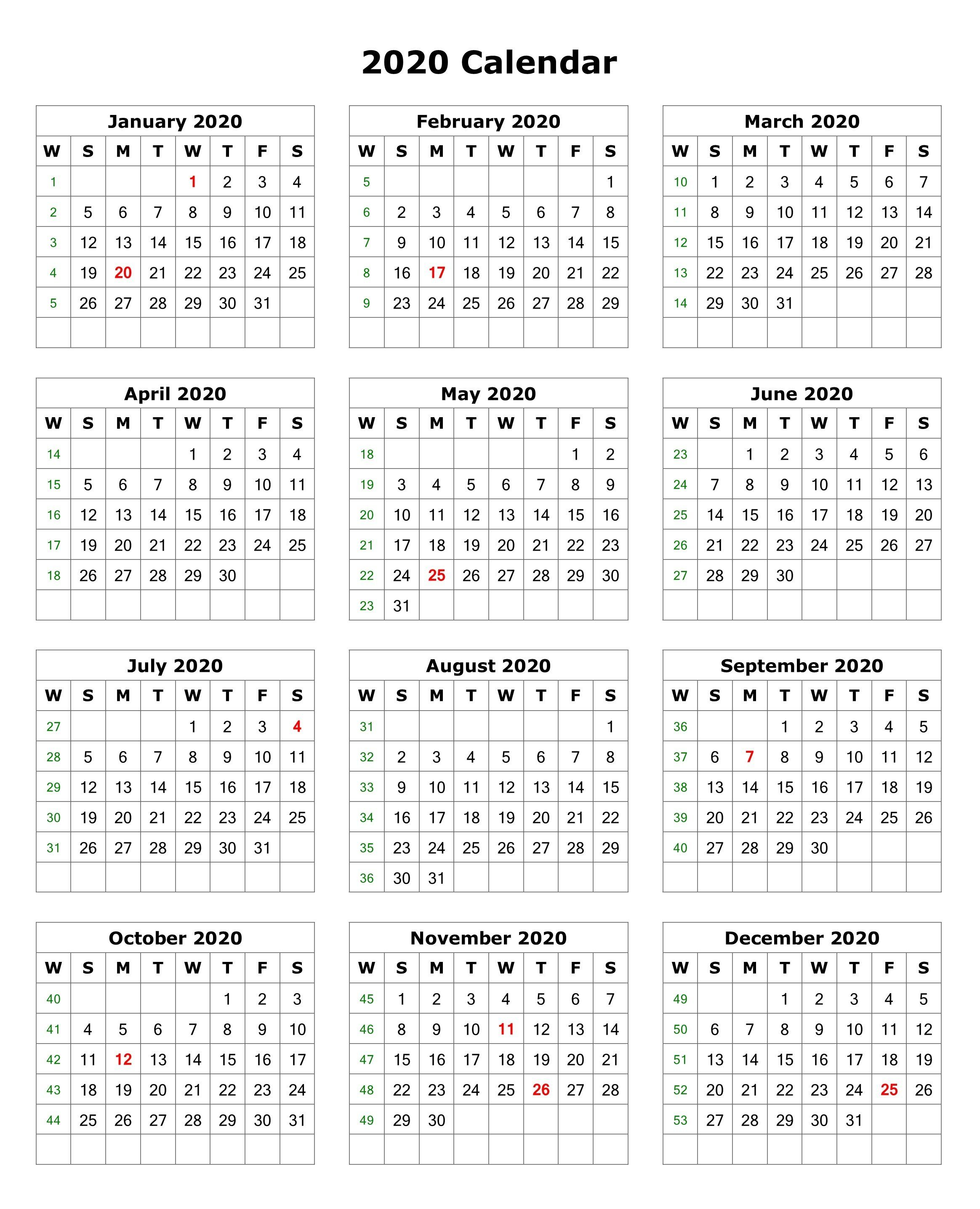 2020 One Page Portrait Calendar   2020 Calendars   Monthly with regard to Monthly Payroll Calendar 2020 Template