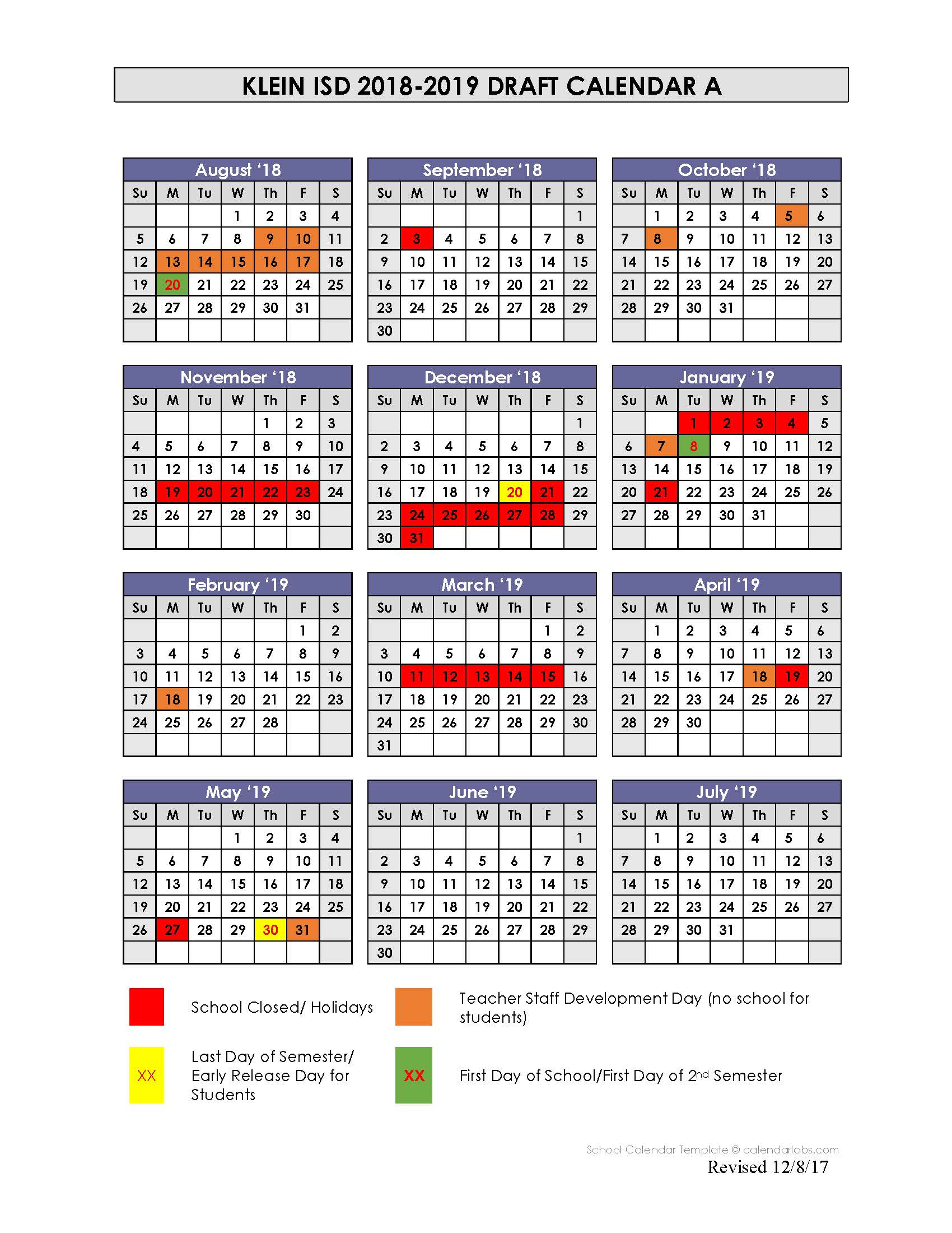District Calendar Options Presented For 2018-19 School Year intended for Kisd Payroll Calendar