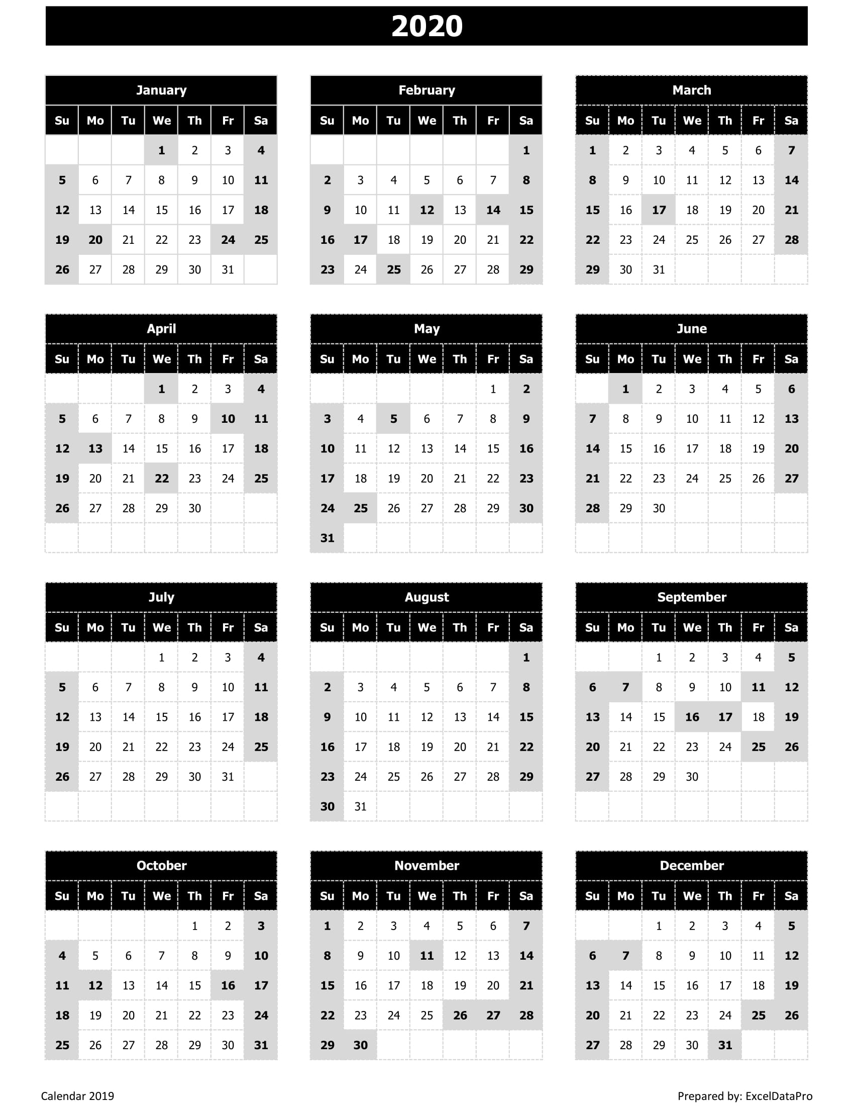 Download 2020 Yearly Calendar (Sun Start) Excel Template for La Fitness Payroll Calendar 2020
