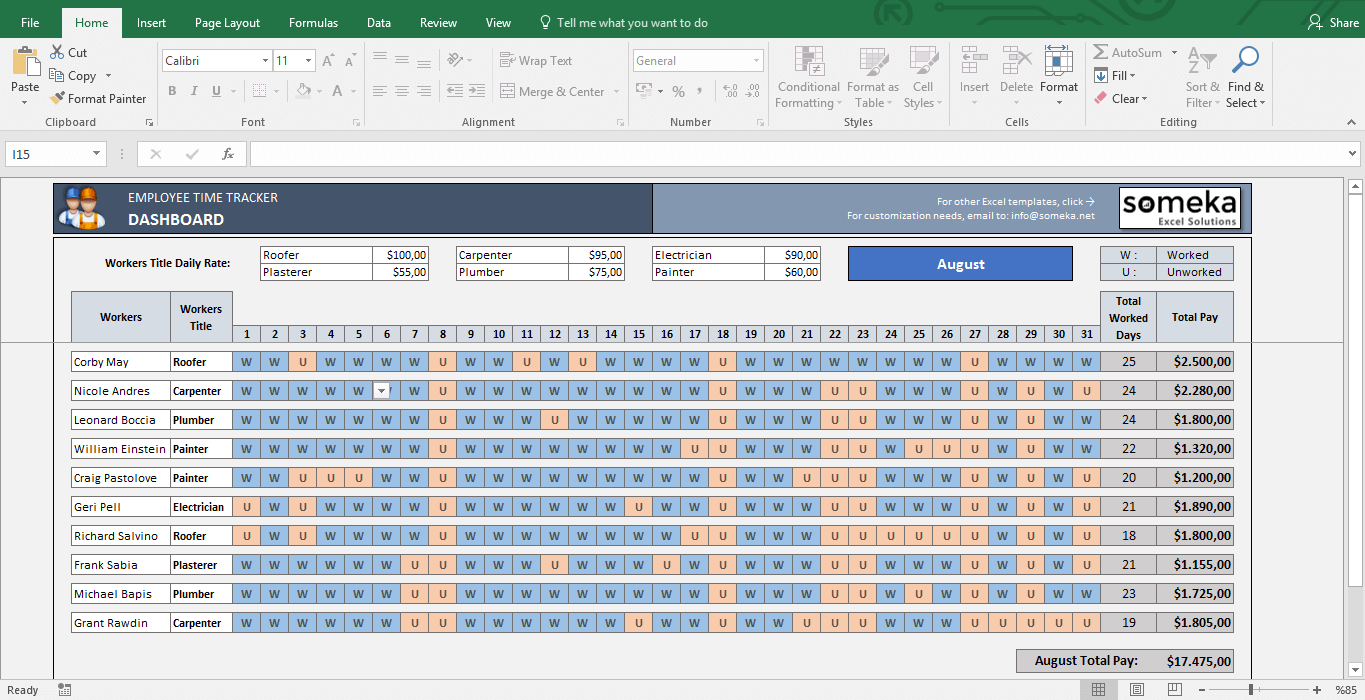 Employee Time Tracker And Payroll Template | My Business intended for Payroll Calendar Spreadsheet