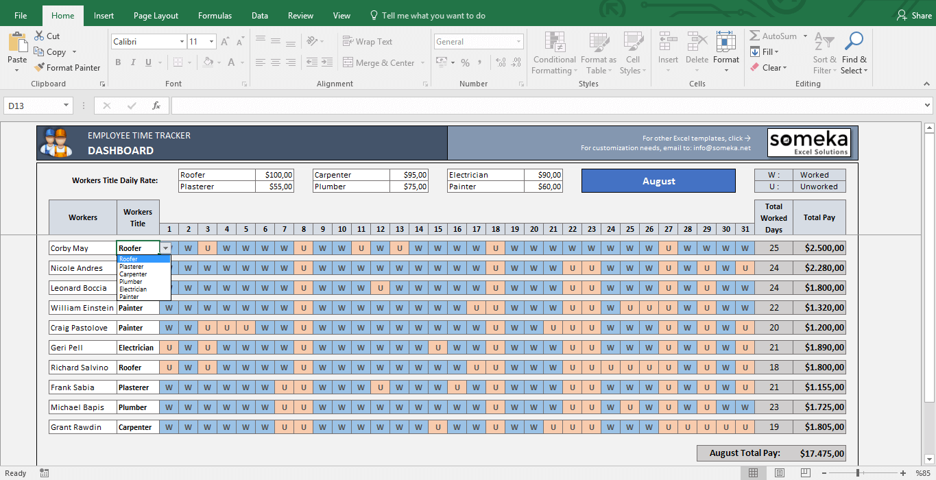 Employee Time Tracker And Payroll Template pertaining to Payroll Calendar Excel Template