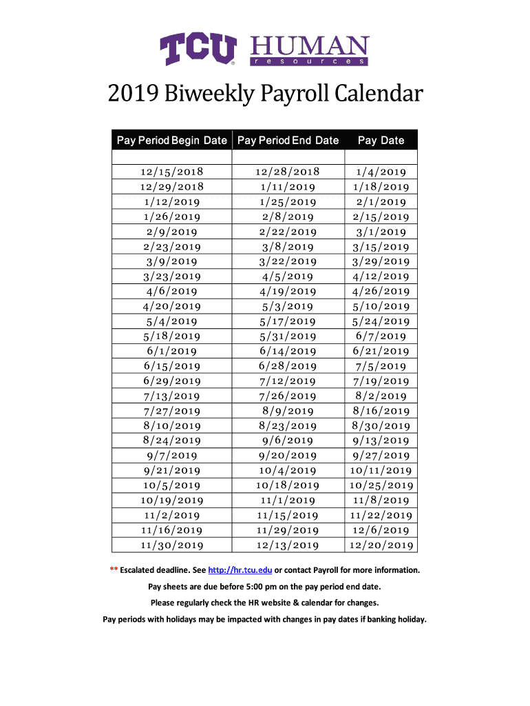 Fillable Online 2019 Biweekly Payroll Calendar Fax Email intended for Payroll Pay Period Calendar