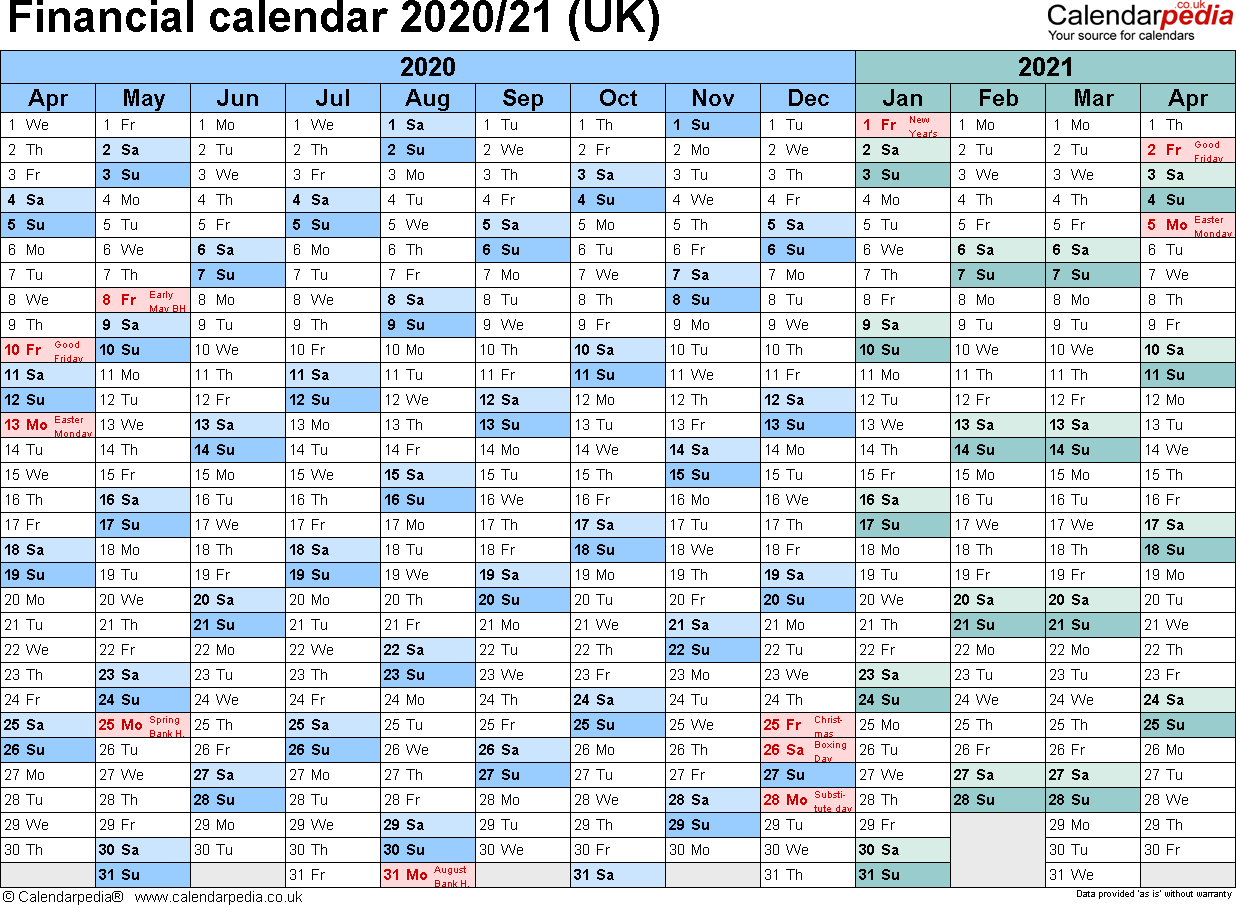 Financial Calendars 2020/21 (Uk) In Pdf Format intended for Payroll Calendar For Tax Year 2020/21
