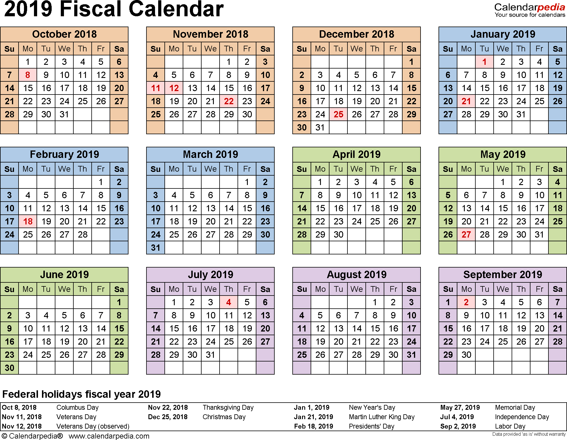 Fiscal Calendars 2019 - Free Printable Excel Templates inside Yearly Payroll Calendar Template