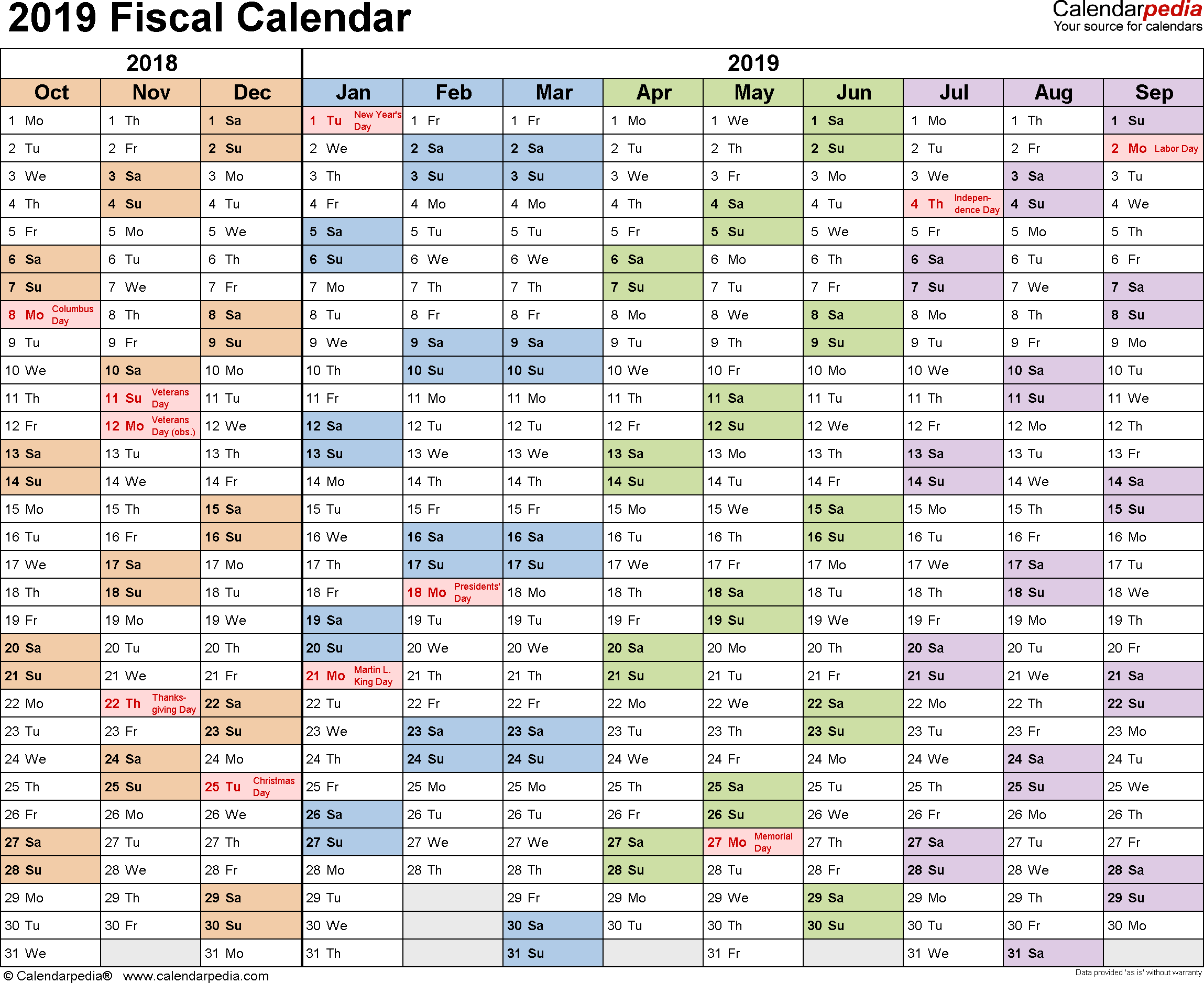 Fiscal Calendars 2019 - Free Printable Word Templates within Payroll Calendar 2020 Revenue Canada