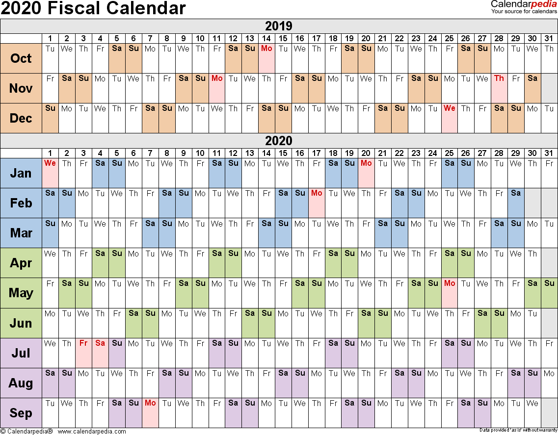 Fiscal Calendars 2020 - Free Printable Pdf Templates intended for Payroll Calendar Uva 2020