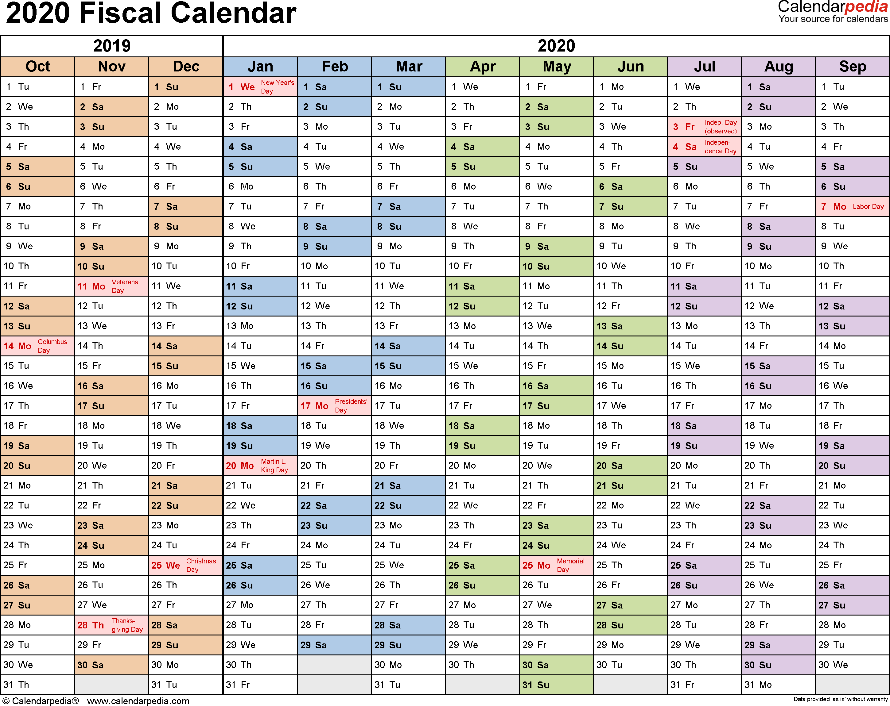Fiscal Calendars 2020 - Free Printable Pdf Templates with regard to Payroll Calendar 2020 Every Two Weeks
