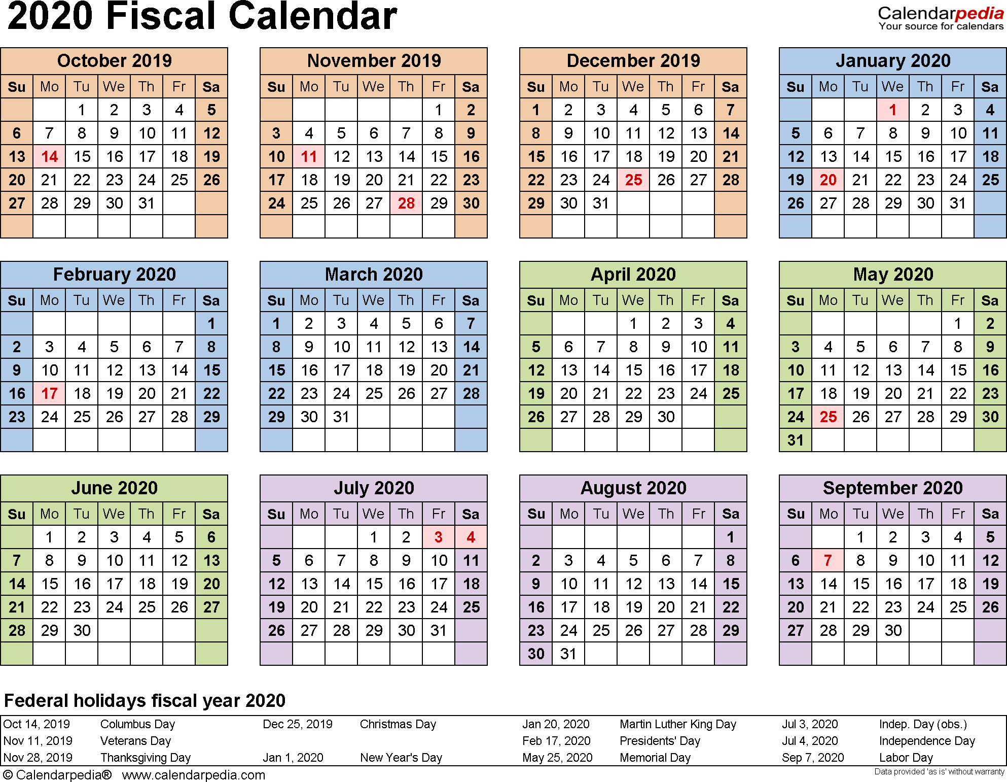 Fiscal Calendars 2020 - Free Printable Pdf Templates within 2020 Payroll Calendar Federal Government