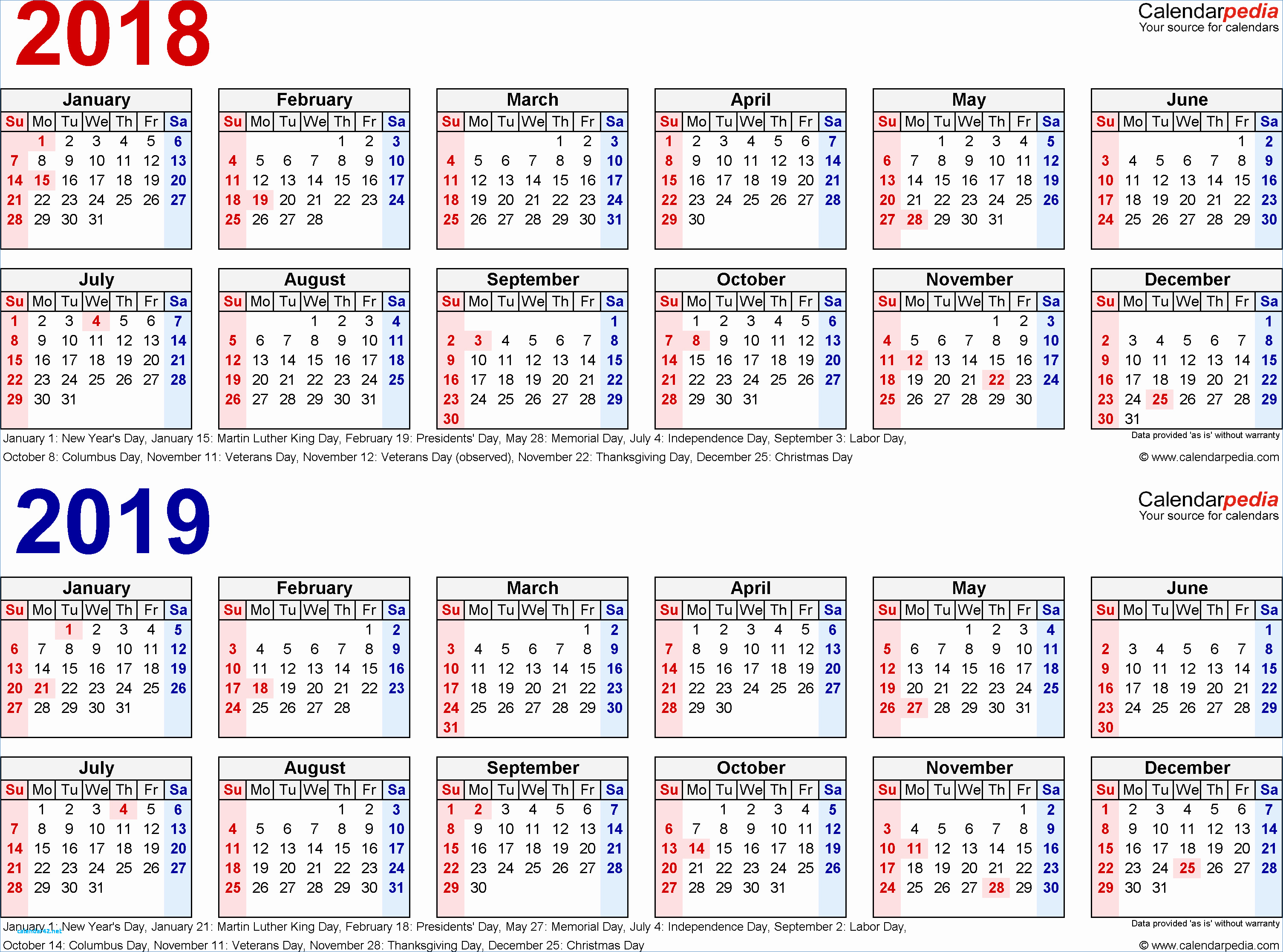 Free Printable 2018 2019 Calendar With Holidays Awesome 2018 intended for 2020 Payroll Calendar For Public Servants Qld