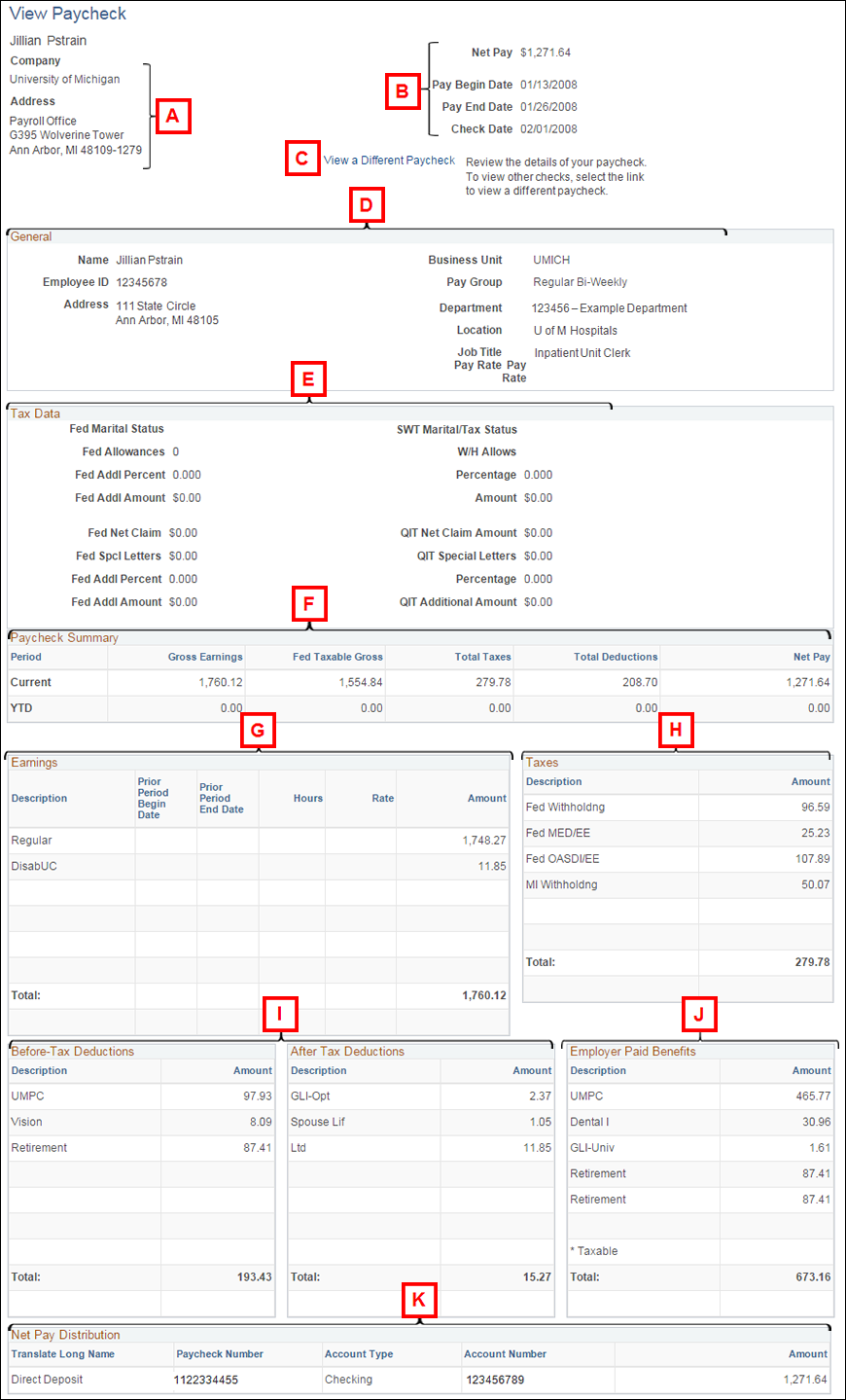 Help: View Paycheck intended for Payroll Calendar Umich