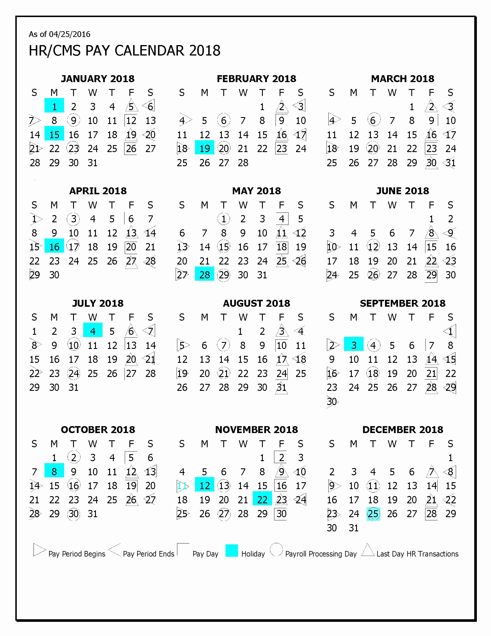 Hhs Payroll Calendar 2018 2018 Payroll Calendar Hospi within Hhs Payroll Calendar 2020 Color