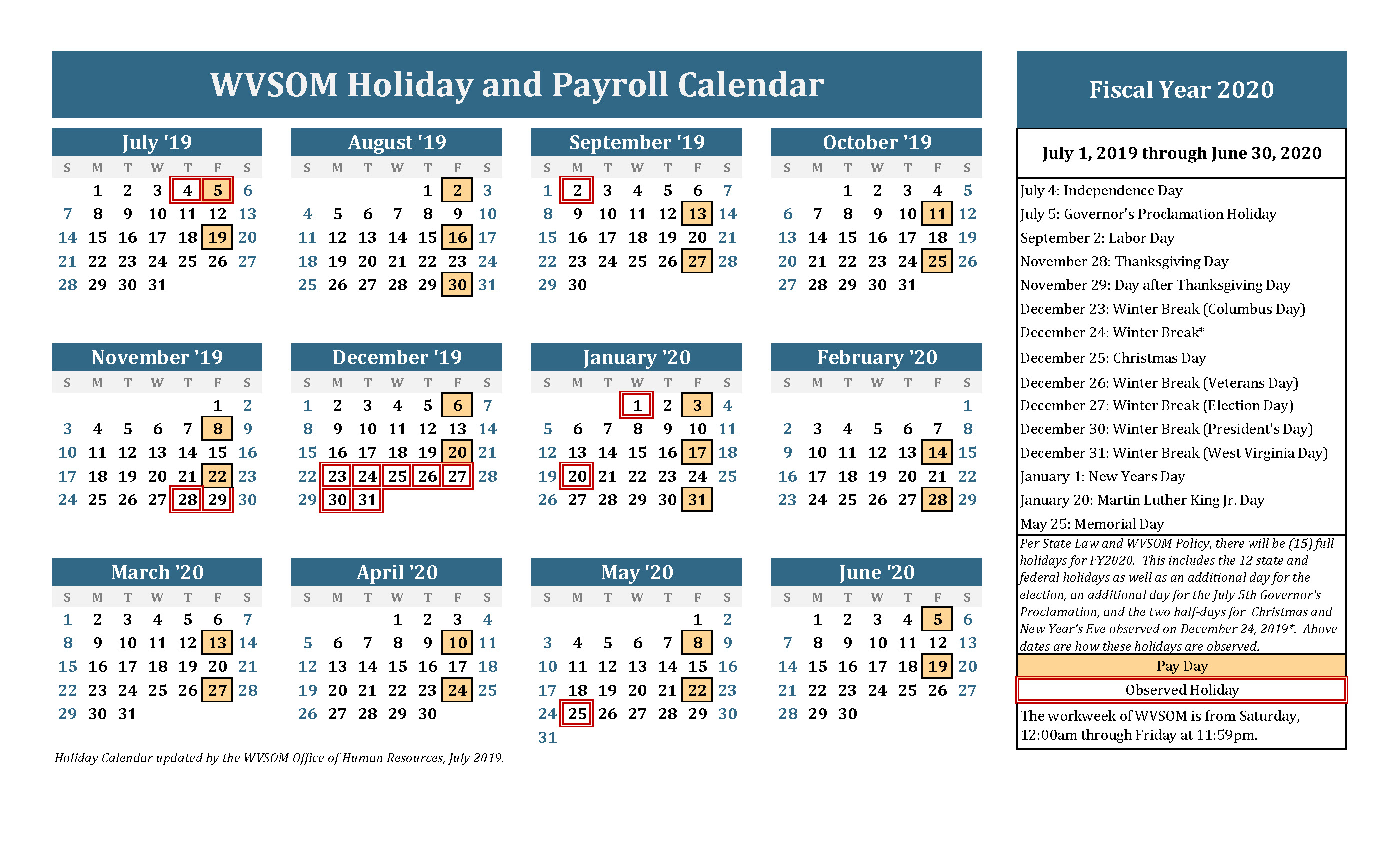 Human Resources - Holiday Calendar   West Virginia School Of for Payroll And Holiday Calendar 2020