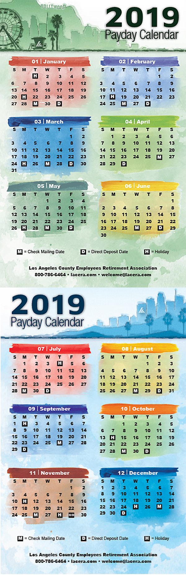 Lacera's Payday Schedule with La County Payroll Calendar 2020