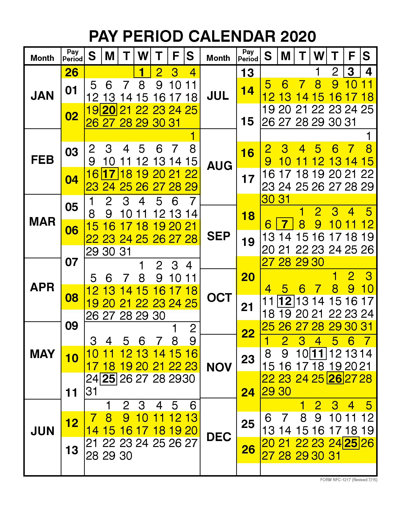 Pay Period Calendar 2020 By Calendar Year | Free Printable pertaining to Pay Period Calendar 2020 Template