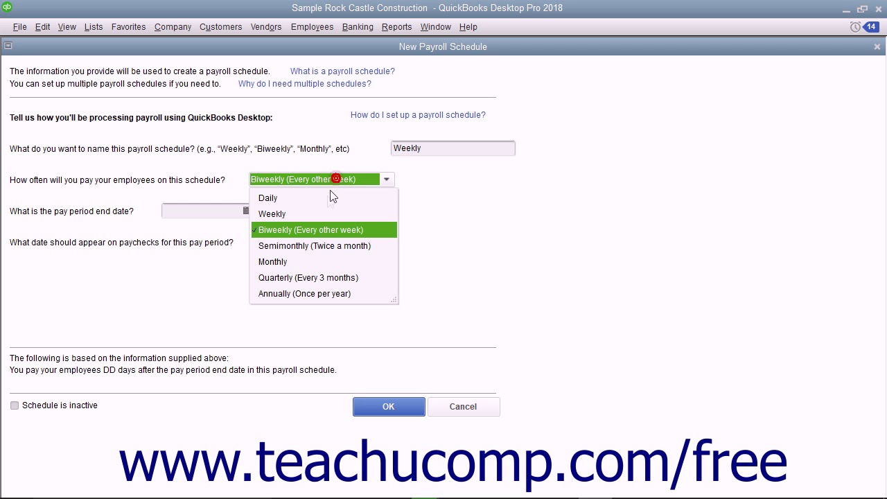 Quickbooks Pro 2018 Tutorial Creating Payroll Schedules Intuit Training within Payroll Calendar Quickbooks