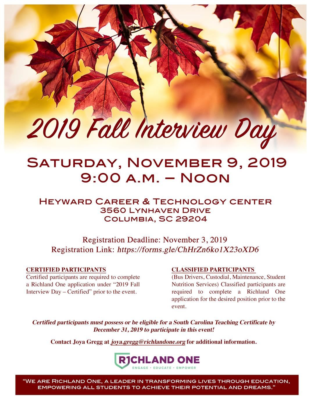 Richland One 2019 Fall Interview Day inside Payroll Calendar Richland One