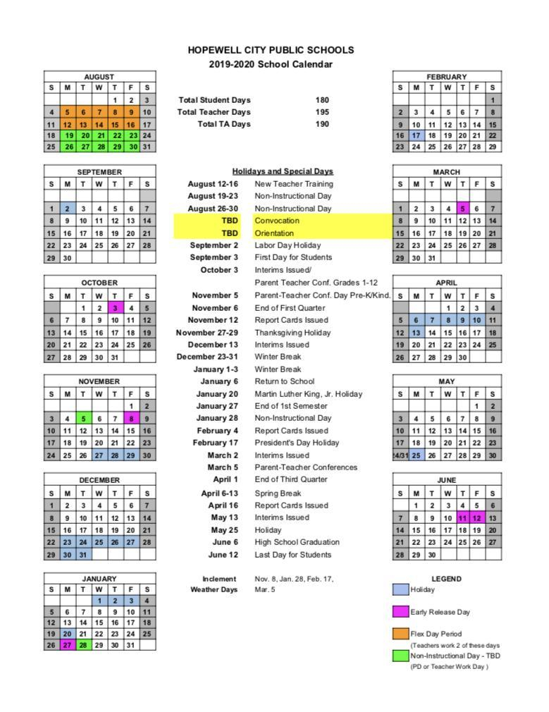 School Year Calendar – Our District – Hopewell City Public within Hcps Payroll Calendar 2020-21