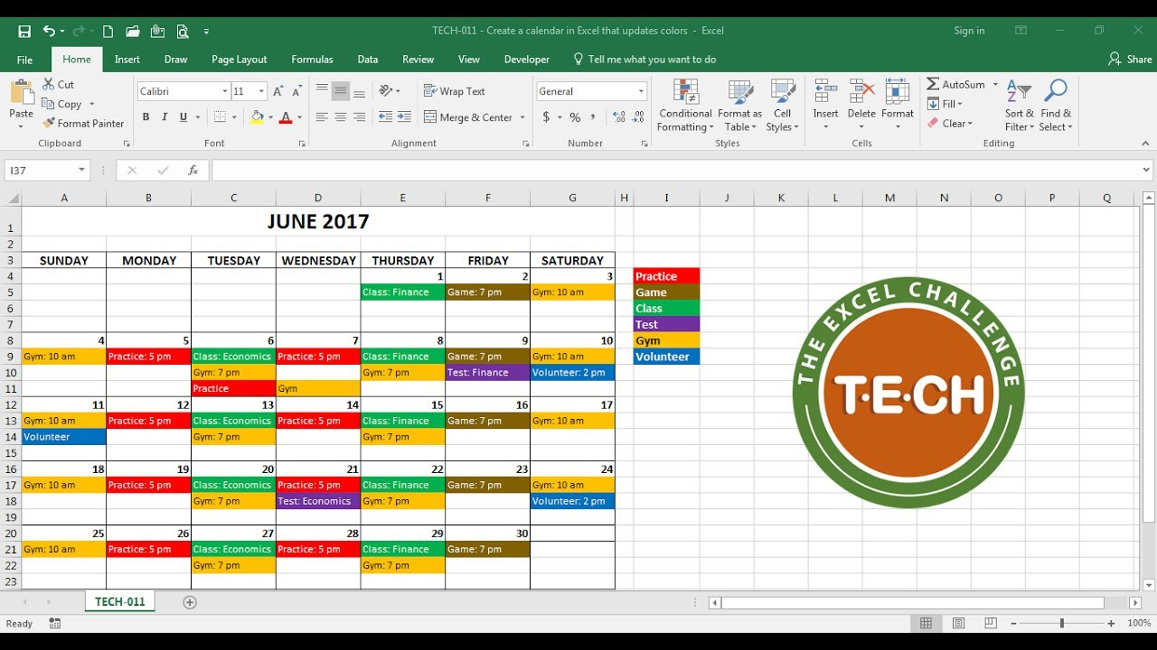 Tech-011 - Create A Calendar In Excel That Automatically Updates Colors By  Event Category inside Create Payroll Calendar In Excel
