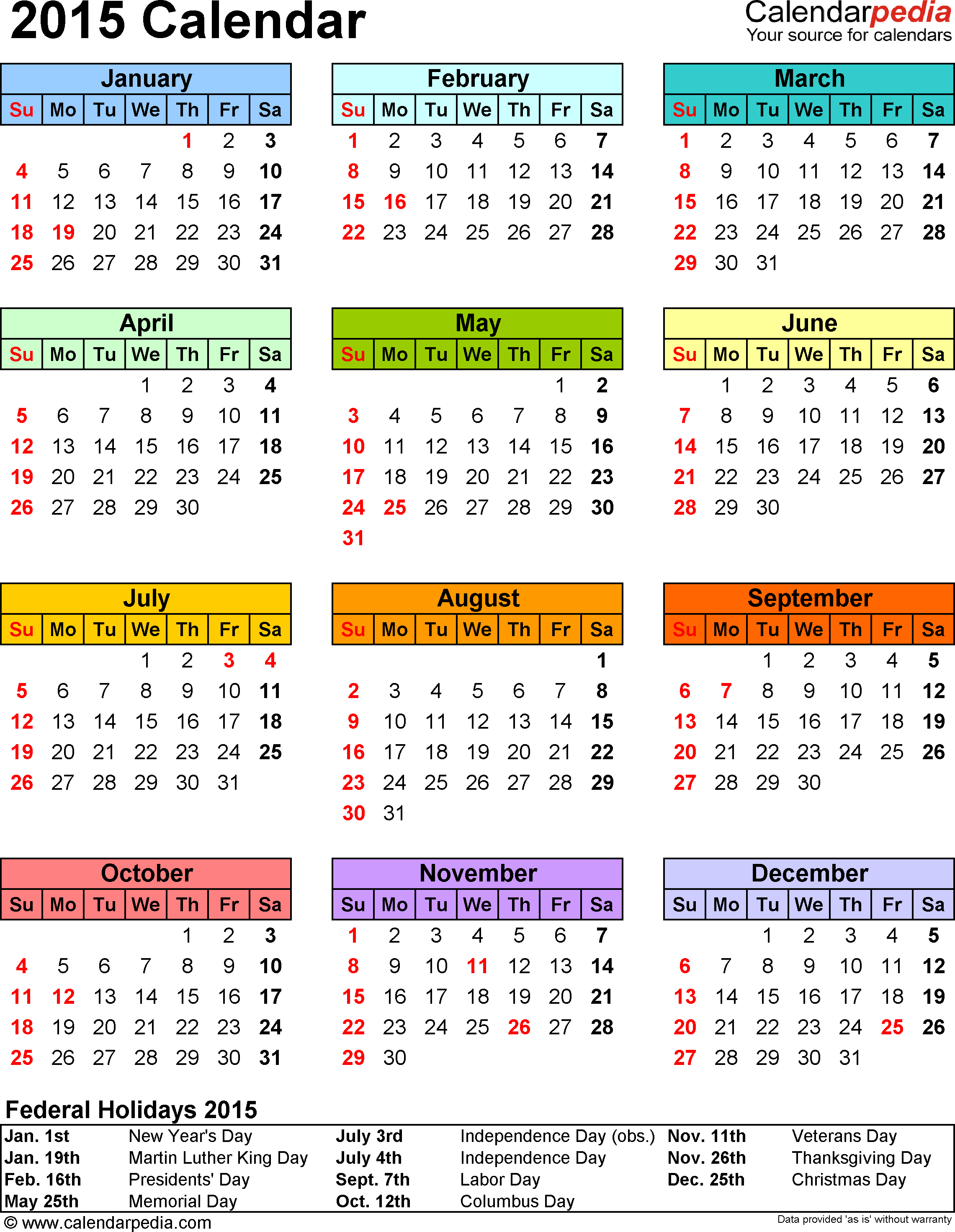 Template 13: 2015 Calendar For Pdf,1 Page, Portrait pertaining to Nj Payroll Calendar 2015