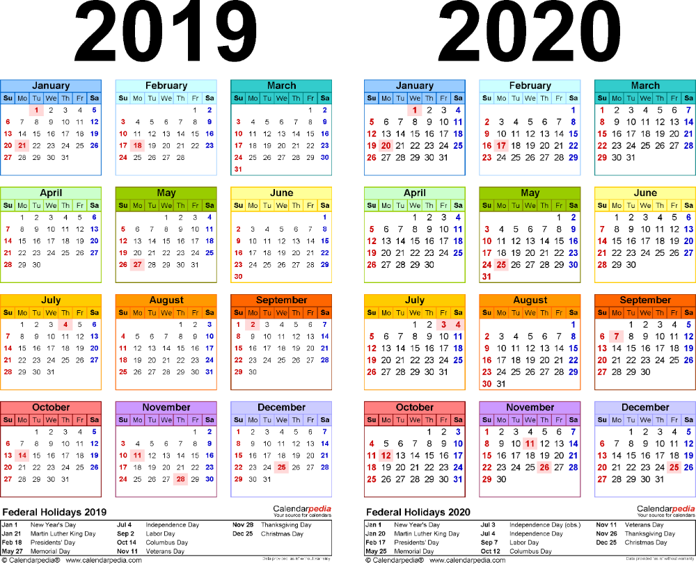 Template 2: Pdf Template For Two Year Calendar 2019/2020 in Payroll Calendar 2020/18 Uk