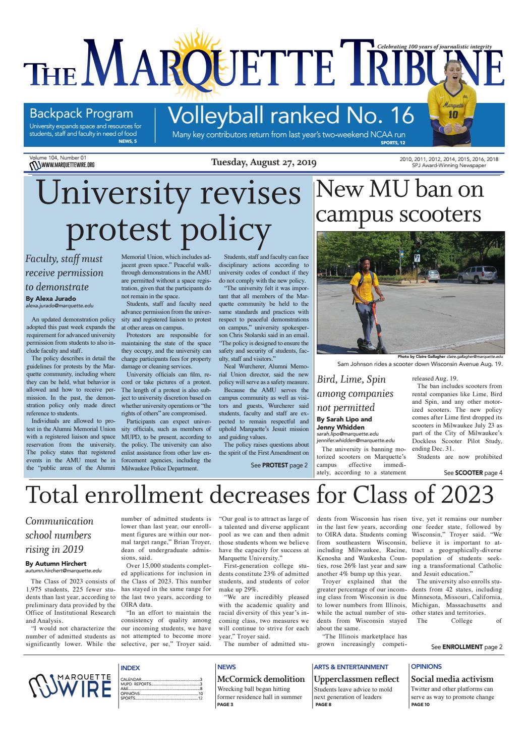 The Marquette Tribune | Tuesday, August 27, 2019 By intended for Payroll Calendar Marquette