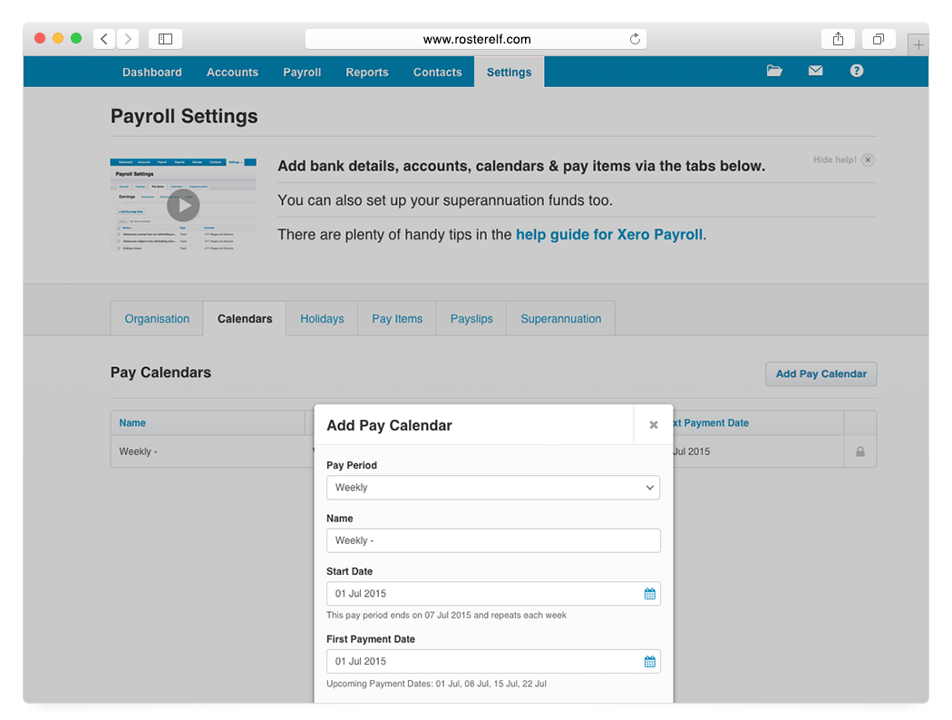What Needs To Be Setup In Xero Before I Can Process A Payroll? intended for Xero Payroll Calendar Start Date