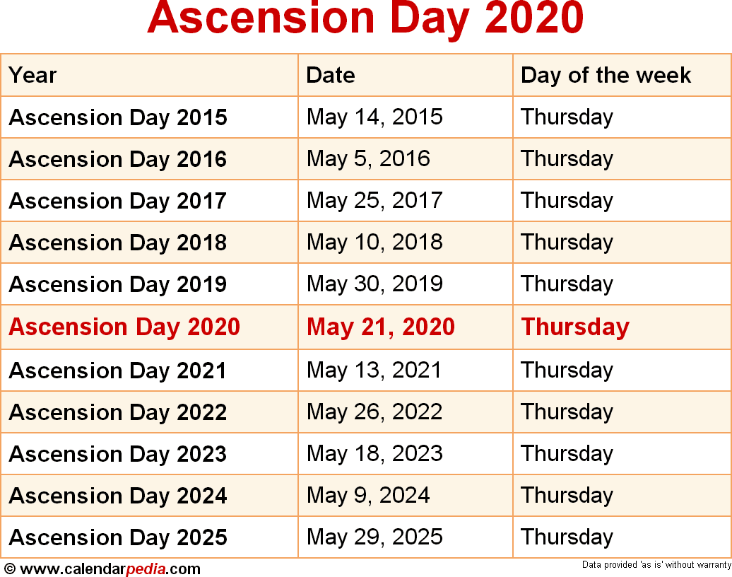 When Is Ascension Day 2020 & 2021? Dates Of Ascension Day intended for Ascension Payroll Calendar 2020